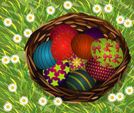 Basket of easter eggs on Fresh Green Grass. And small flower Stock Photo