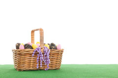 Basket easter eggs Royalty Free Stock Photography