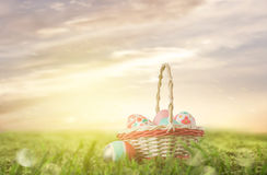 Basket with Easter eggs on the grass Stock Photography