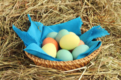 Basket of easter eggs  on hay Stock Photography