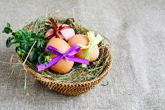 Basket with Easter eggs and hay Stock Images