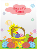Basket with easter eggs, illustration Royalty Free Stock Image