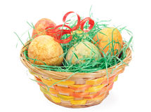 Basket of Easter Eggs isolated Royalty Free Stock Images