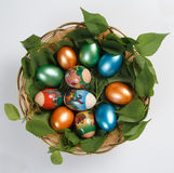 Basket of Easter eggs Royalty Free Stock Image