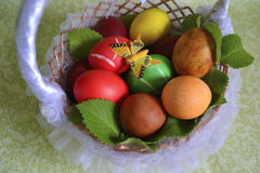 Basket with Easter eggs and mint Royalty Free Stock Image