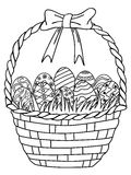 Basket of Easter eggs outline,coloring page. Isolated hand drawn Basket of Easter eggs outline,coloring page on white background Royalty Free Stock Photography