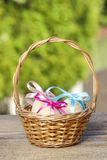 Basket of easter eggs Royalty Free Stock Photography