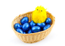 Basket with Easter eggs and small chicken. Royalty Free Stock Photography
