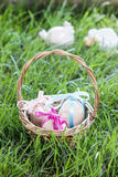 Basket of easter eggs standing on fresh grass Royalty Free Stock Images