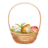 Basket with Easter eggs . stock illustration