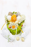 Basket with easter eggs and white rabbits Royalty Free Stock Photo
