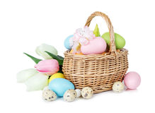 Basket with Easter eggs. Wicker basket with pink, blue and green Easter eggs as well as with tulips and other flowers  on white background Royalty Free Stock Photos