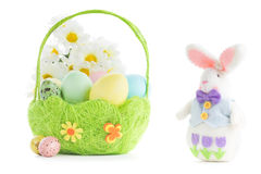 Basket with Easter eggs Royalty Free Stock Photo