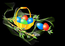 Basket with Easter eggs and a willow. Drawing of a basket with Easter eggs and a willow on a black background Royalty Free Stock Photography