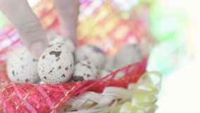 Basket with Easter eggs stock video