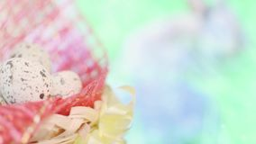 Basket with Easter eggs stock footage