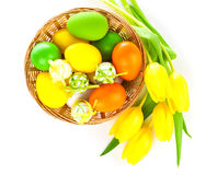 Basket with easter eggs and yellow tulips, Royalty Free Stock Photos
