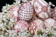 Basket with easter painted eggs and plum cherry flowers Royalty Free Stock Image