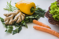 Basket of ecologically pure vegetables Stock Images
