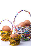 Basket and egg Stock Photography