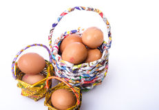 Basket and egg Stock Images