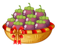 A basket of eggplants Stock Photo