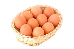 Basket with eggs. Eggs on the white background stock image