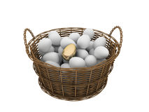 Basket with eggs Stock Photos
