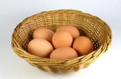 Basket of Eggs. Six free range eggs in cane basket Royalty Free Stock Photo