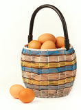 Basket with the eggs. Royalty Free Stock Photos