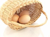 Basket and eggs Stock Images