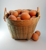Basket of eggs 2. Eggs in a bamboo basket Stock Photography