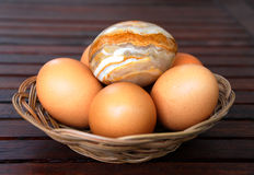 Basket with eggs Royalty Free Stock Photo
