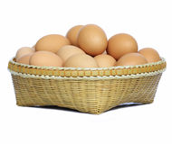 Basket of Eggs. Isolated on white Royalty Free Stock Photo