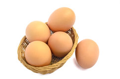 Basket of eggs. Eggs in the bambo basket Stock Image