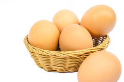 Basket of eggs Stock Images