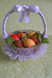 Basket with eggs and a butterfly Royalty Free Stock Photography