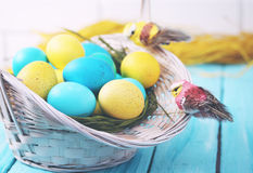 Basket of eggs close-up, tinted Royalty Free Stock Images