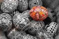 Basket of eggs. Decorated Easter eggs from Romania.  Traditional craft Stock Images