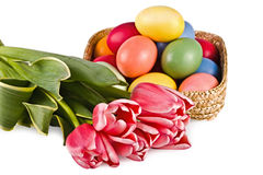 Basket with eggs and flowers Royalty Free Stock Photo