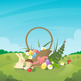 Basket With Eggs Flowers Easter Holiday Present Rabbit Nature Spring Background Royalty Free Stock Photos