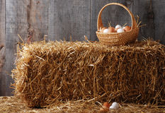 Basket of eggs on hay bale. In an old barn Stock Photo
