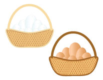 Basket with eggs. Illustration of a basket with eggs on a gray background Stock Images