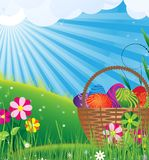 Basket of eggs in the meadow Royalty Free Stock Photos