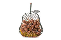 Basket of eggs. Eggs in a metal basket Royalty Free Stock Images