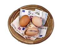 Basket Eggs and Retirement. Basket egg with retirement eggs on Euro bank notes Stock Images