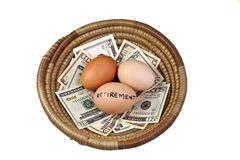 Basket Eggs and Retirement. Basket egg with retirement eggs on US bank notes Royalty Free Stock Photos