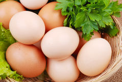 Basket with eggs on sackcloth Royalty Free Stock Photography