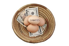 Basket Eggs Shares Royalty Free Stock Images