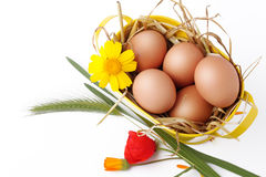 Basket with eggs and straw Royalty Free Stock Images